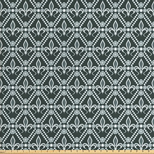 Ambesonne Fleur De Lis Fabric by The Yard, Abstract Dotted Rectangles with Floral Pattern Polka Dots with Vintage Motifs, Decorative Fabric for Upholstery and Home Accents, Sage ()