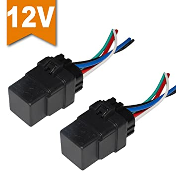 amazon com ehdis 2 pack car automotive truck boat 40 amp relay rh amazon com Dpdt Relay Schematic SPST Relay