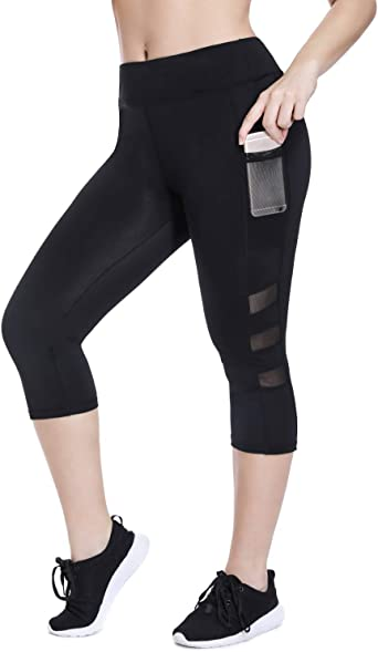 Joyshaper Plus Size Capri Workout Legging For Women High Waist Yoga Pants With Pockets Mesh Athletic Gym Tights At Amazon Women S Clothing Store
