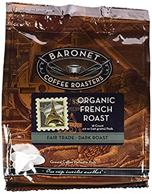 Baronet Coffee Fair Trade Organic French Roast Coffee Pods, 54 Count