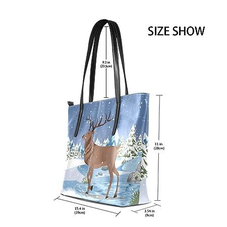 11c0ba81a0d Amazon.com  Women Leather Handbags Deer Christmas Tree Top Handle Shoulder  Bags  LiKai