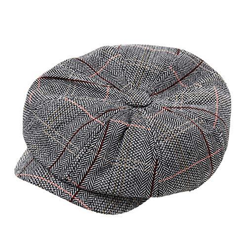メンズ コットン ブレンドストライプ フラット八角帽,グレー