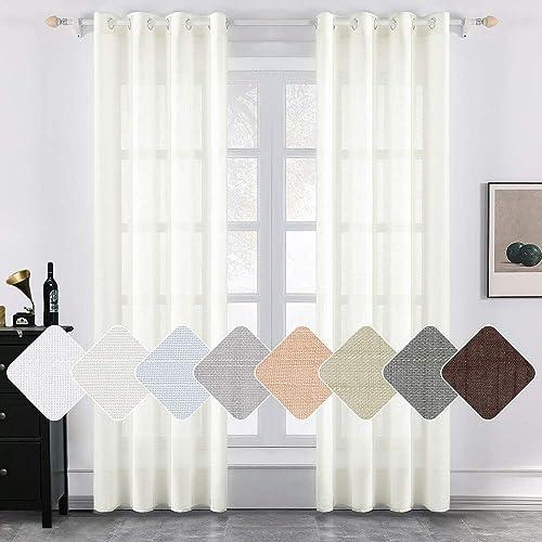 MIULEE 2 Panels Natural Linen Long Semi Sheer Window Curtains Elegant Solid Ivory Drapes Grommet Top Window Voile Panels Linen Textured Panels for Bedroom Living Room 52X108 Inch