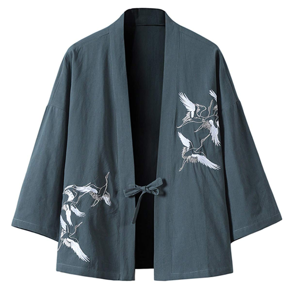 PRIJOUHE Men's Japanese Kimono Jacket Cardigan Yukata Noragi Casual Fashion Seven Sleeves Lightweight Open Front Coat by PRIJOUHE