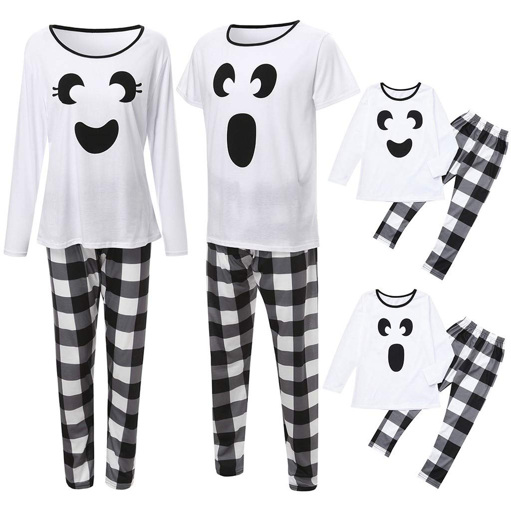Matching Family Halloween Pajamas Set Cute Ghost Holiday Tops Pants Sleepwear Clothes Set (Boy-2-3T, White) by sweetnice Girls Dress