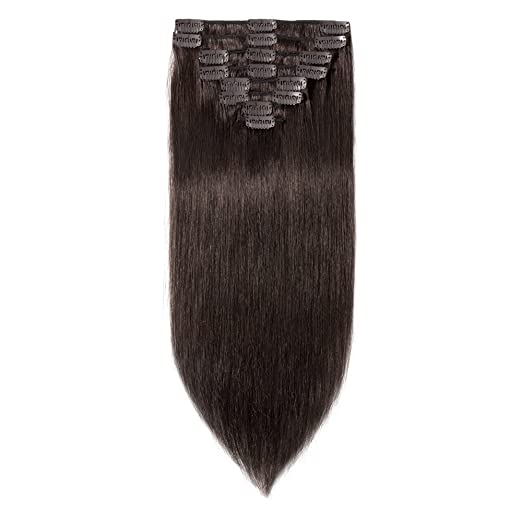 Amazon 10 inch 70g clip in remy human hair extensions full amazon 10 inch 70g clip in remy human hair extensions full head 8 pieces set short length straight very soft style real silky for beauty 2 dark brown pmusecretfo Choice Image
