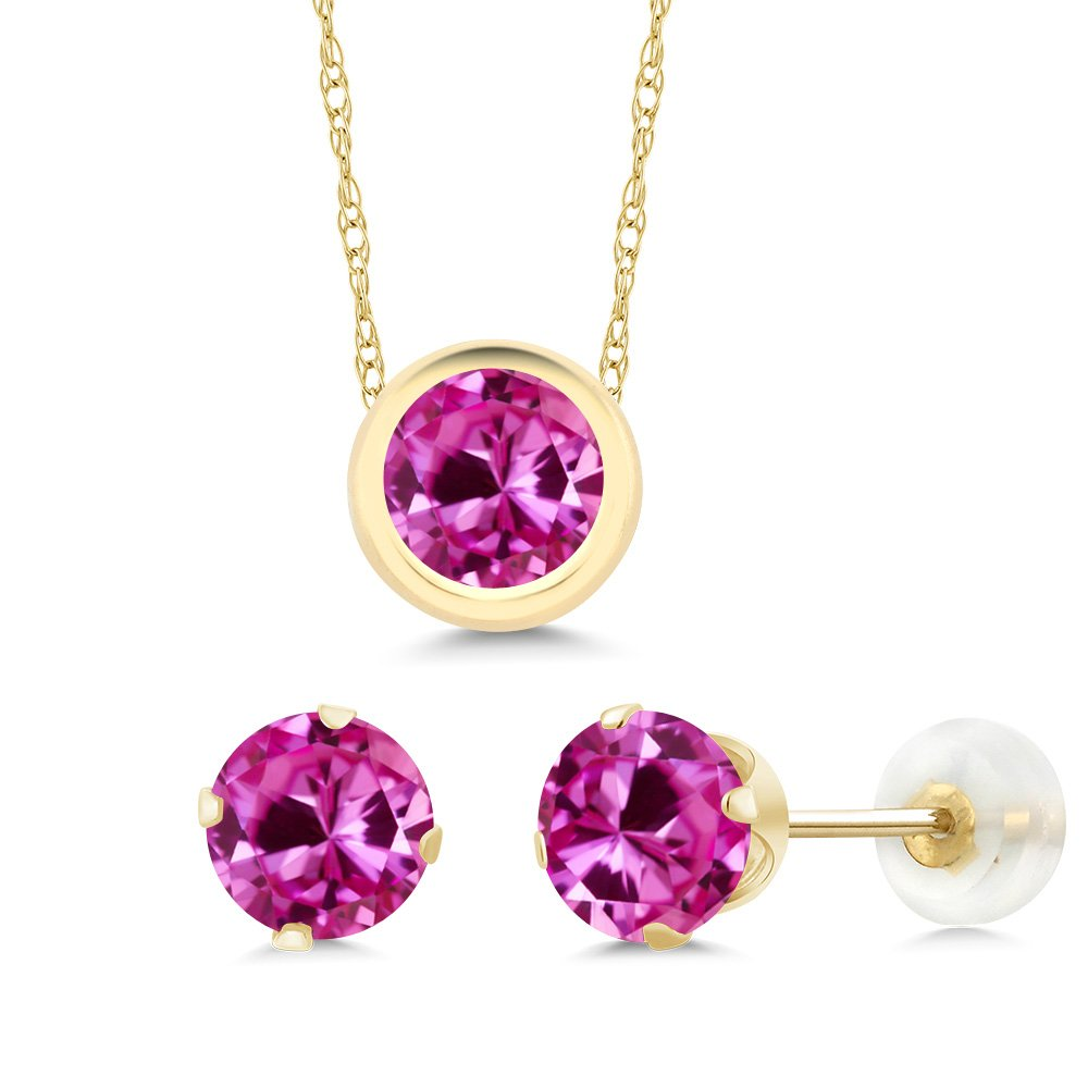 3.00 Ct Round Pink Created Sapphire 14K Yellow Gold Pendant Earrings Set
