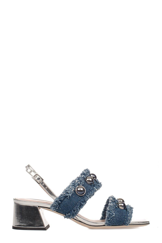 Alberto Gozzi Women's Bea218str Silver/Blue Cotton Sandals