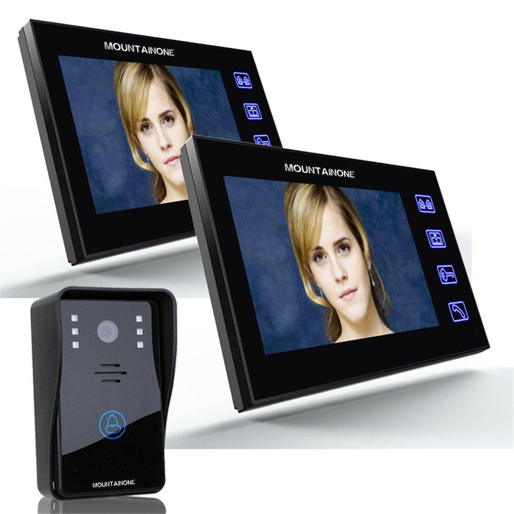 MOUNTAINONE 7'' Video Door Phone Intercom Doorbell with 1pcs 1000TVL Outdoor Security CCTV Camera + 2pcs Indoor Monitor Home Security SY816A12