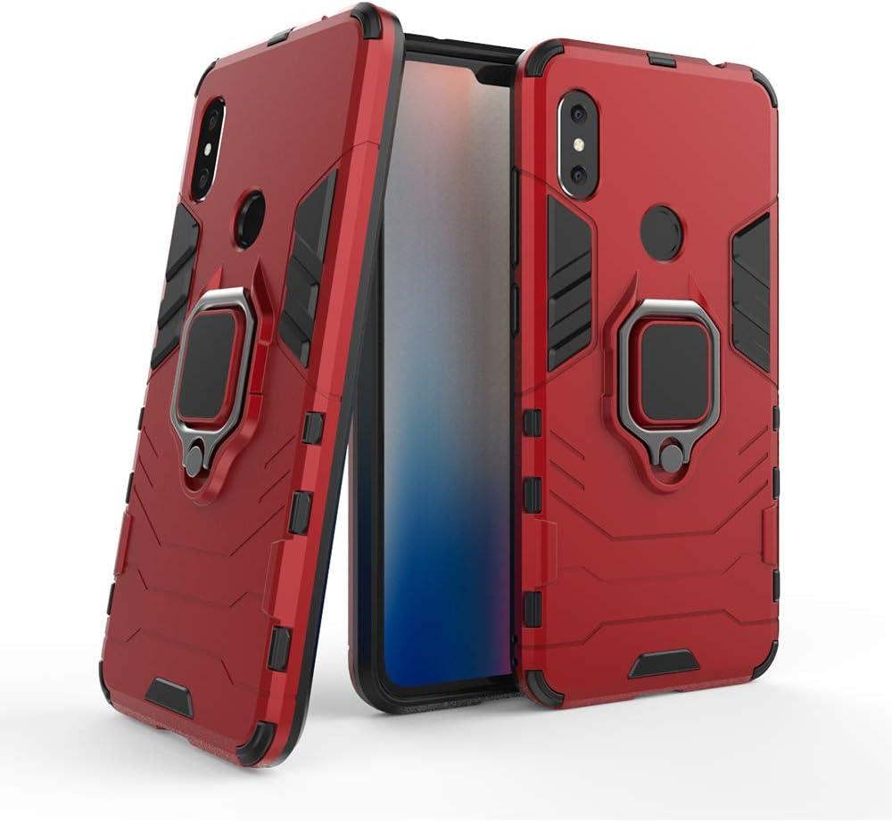 DESCHE para Funda Xiaomi Redmi Note 6 Pro, Funda para Soporte de Anillo + Protector de Pantalla, Compatible con el Soporte magnético para automóvil (no Incluye un Soporte magnético) - Rosso