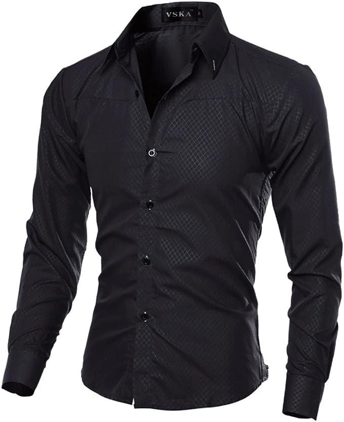 Vska Mens Long-Sleeved Solid Stand Collar Button up Collar Shirt