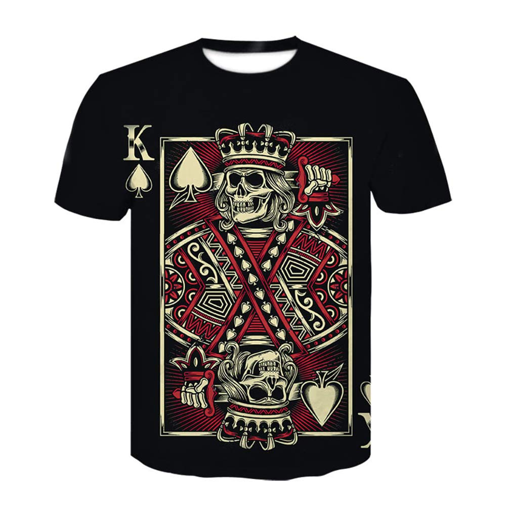XIANGLIOOD Mens Short Sleeve 3D Digital Print Playing Cards Rock Street T-Shirt
