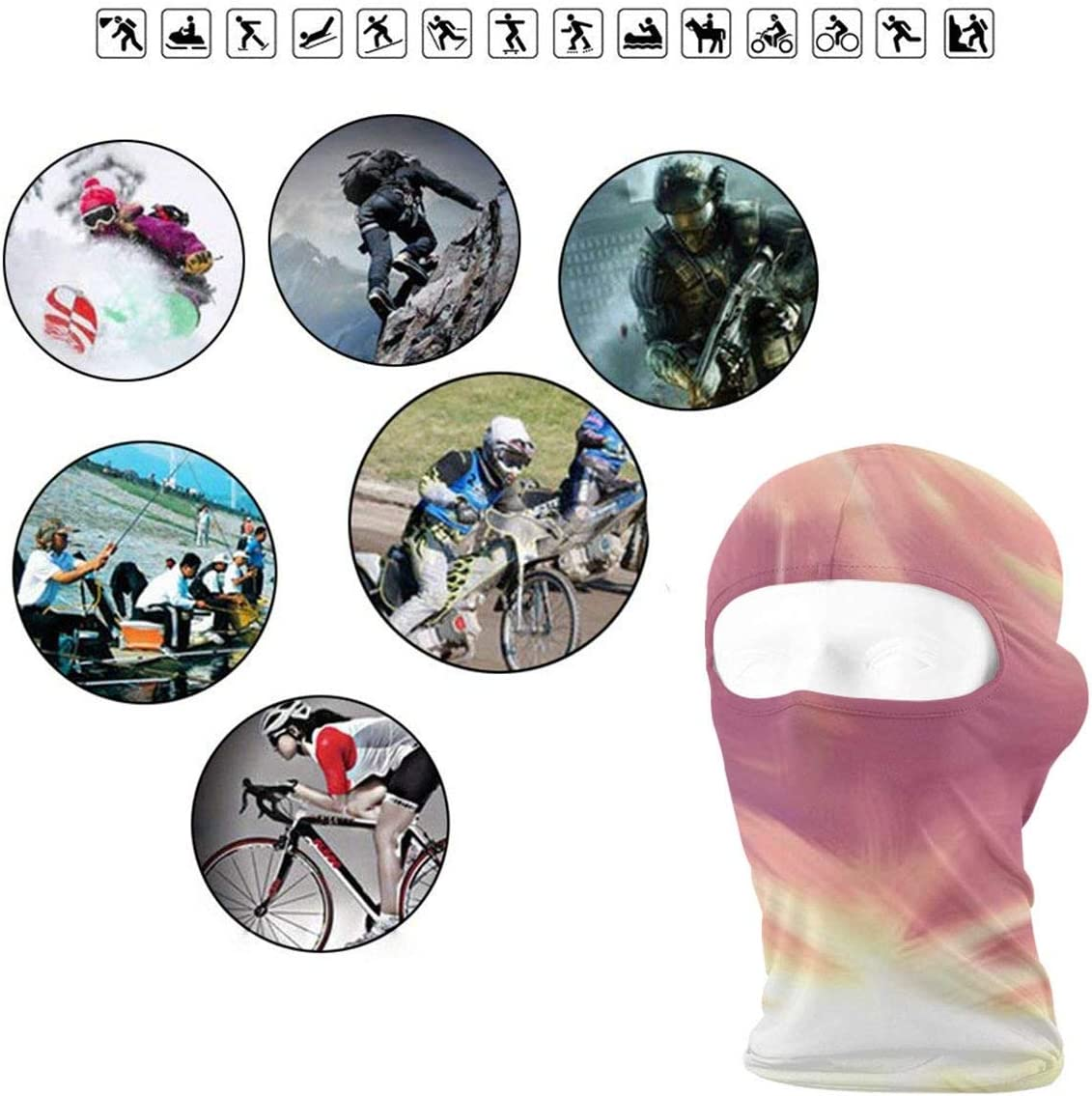 CAClifestyle Abstract Background Unisex Windproof Balaclavas Full Face Mask Hood
