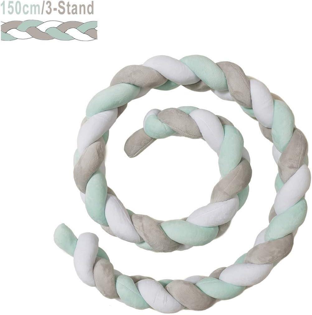 Color : Green+White+Gray, Size : 400cm ZIYEYE Handmade Braided Cot Bumper Baby Head Guard Bumper Knot Braid Pillow Cushion Decorative Pillow For Nursery Crib
