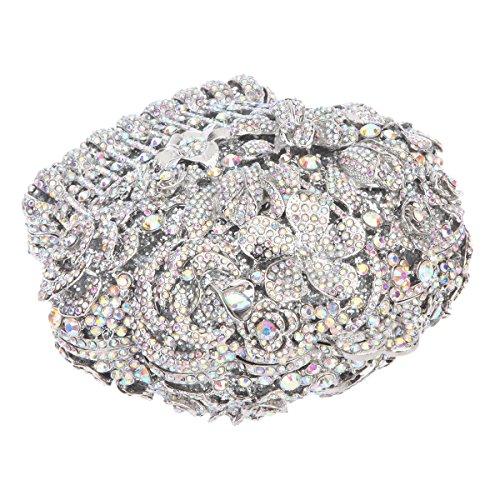 AB Women Flower For Bonjanvye Clutch Basket Silver And Shape Purses Handbags 6nwp7q