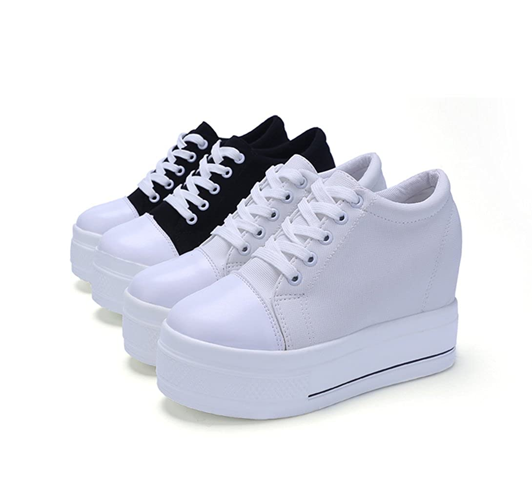 YC WELL Womens Increased Within Shoes Wedge Platform Sneaker Lace up Canvas shoes46