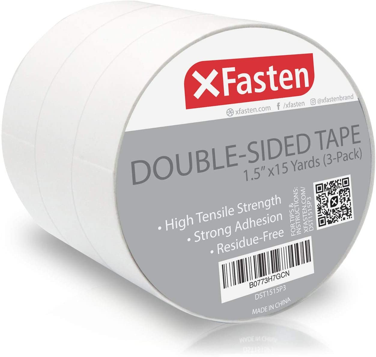 XFasten Double Sided Tape Removable, 1.5-Inch by 15-Yards (Pack of 3)