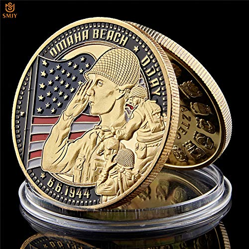 Momoso_store 1944.6.6 Utah D-Day US 4th Infantry Ivy Div US Army Gold Plated Military Challenge Collectible Coins with Coin Capsules, Replica Toys