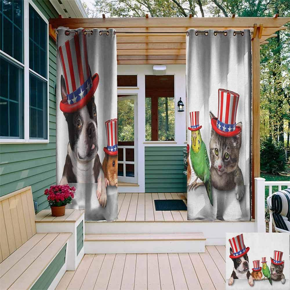 DONEECKL Sliding Door Curtain Fourth of July Cute Pet Animal Dog Cat Bird and Hamster with American Hat Celebration Image Simple Stylish W72 x L96 Multicolor by DONEECKL