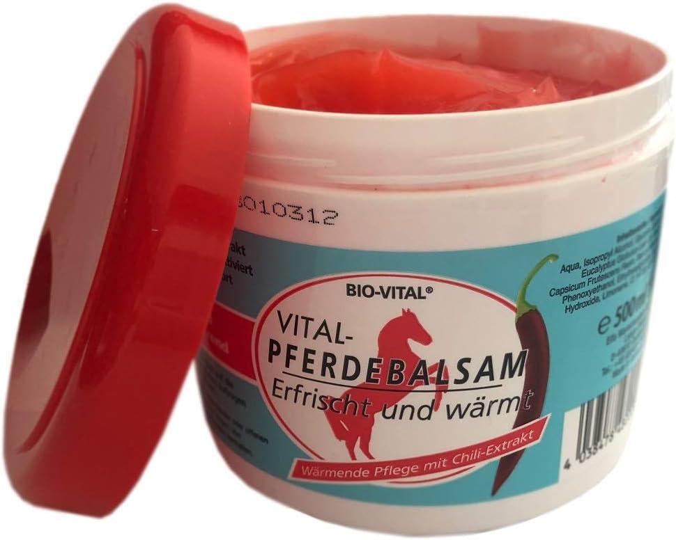 500 ml de bálsamo de caballo extrafuerte, gel de masaje para un cuidado corporal cálido con efecto extra fuerte, contiene extracto de chili