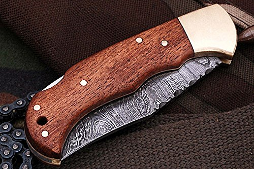 Poshland Knives FN-9003, Custom Handmade Damascus Steel 6.5 Inches Folding Knife - Beautiful Wallnut Wood Handle with Brass Bolster