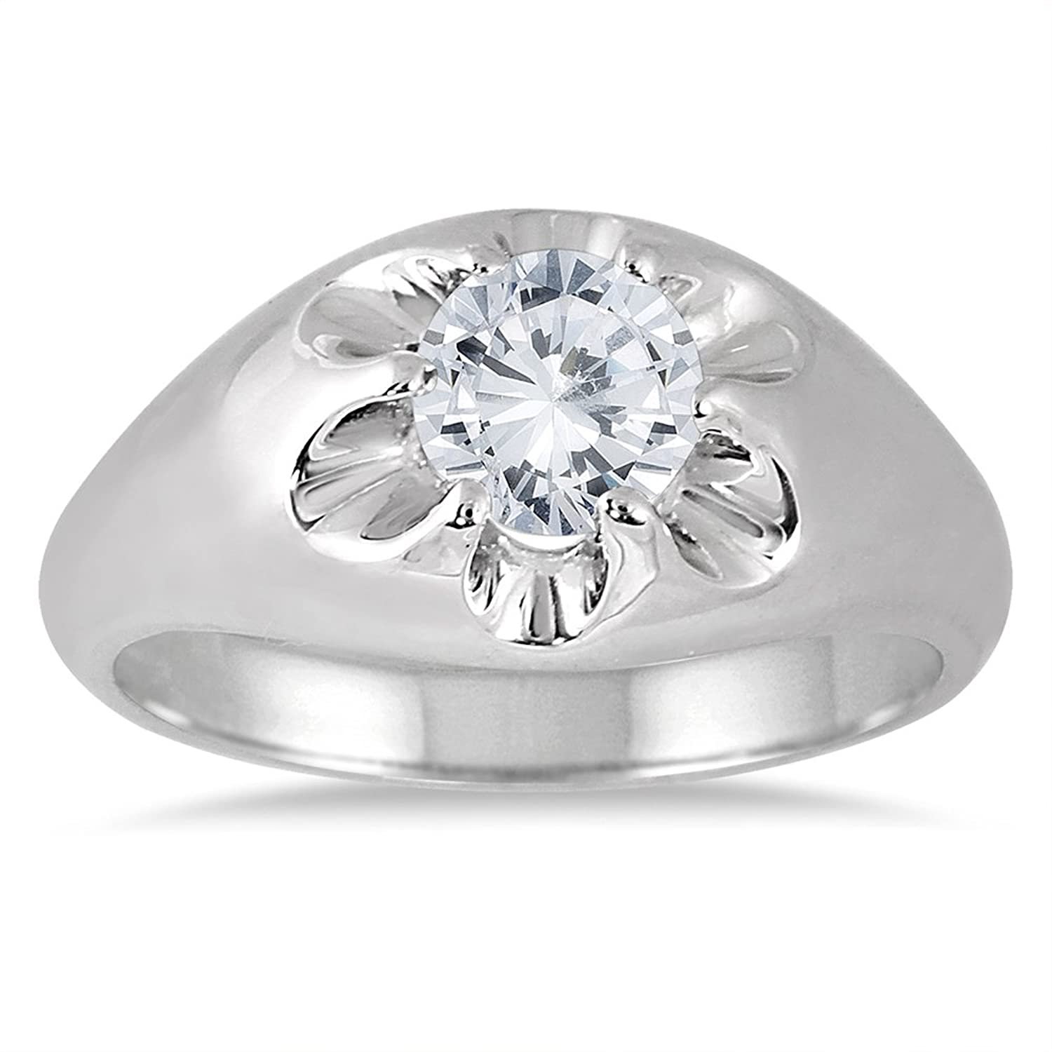 AGS Certified 1 Carat Men s Diamond Solitaire Ring in 10K White