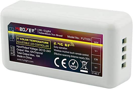 Wireless 2.4G RGB+CCT Led Controller 4-zone RF Remote Control f 5050 Strip Light