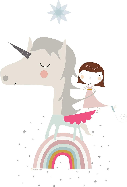 HACIENDO EL INDIO Colcha bouti Reversible Unicorn White Cama 90 cm