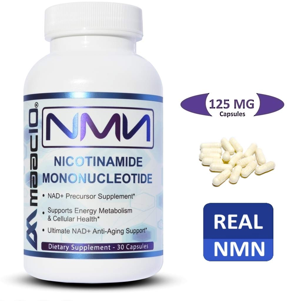 MAAC10-125mg NMN Nicotinamide Mononucleotide. The Most Powerful NAD+ Supplement. Promotes Anti-Aging DNA-Repair, Sirtuin Activation & Energy Metabolism. (30 Capsules)