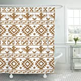 Emvency Shower Curtain Blue Southwest Pixel Aztecs Colorful Abstract Africa Waterproof Polyester Fabric 72 x 78 inches Set with Hooks