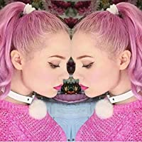 Hunputa Vintage PU Leather Pom Pom Ball Choker Necklace Goth Collar Hoop Chain R Necklace (White)