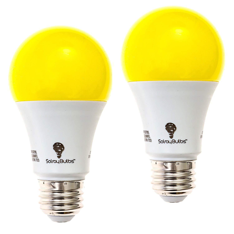 2-Pack Solray A19 Amber Yellow LED Bug Light Bulb No Blue Light Outdoor 650 Lumens 120V E26 Medium Base LED 9.5 -Watt (40-watt Replacement) A19 Outdoor Bug LED Warm Light Bulb