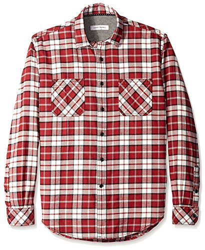 Campbell Flannel - James Campbell Men's Anju Plaid Flannel Long Sleeve Shirt, Scarlet, S