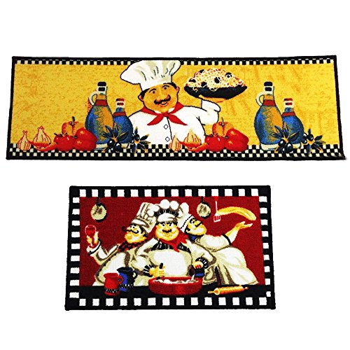 Wolala Home Fat Chefs Man Kitchen Rugs for Wood Floors Red Machine Washable Kitchen Rug Set 2pcs (1'3x2'0+1'3x4'0, Collocation)