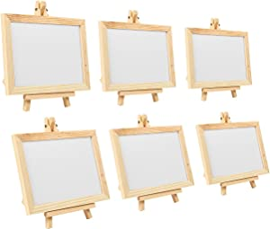 Juvale 6 Pack Mini Chalkboard Signs with Easel Stand, Small Rectangle Wooden Framed White Chalkboard for Table Numbers, Wedding Decoration, Message Board Signs and Birthday Parties