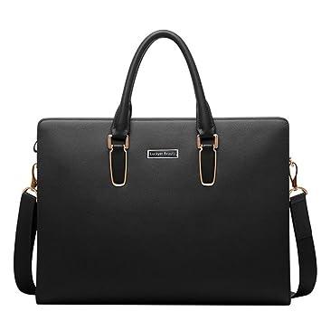5f91d6a70a Luckyer Beauty Besace en cuir véritable sac porte épaule sacoche pour PC  portable sac bandoulière sac