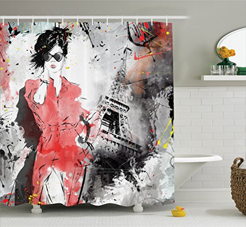 Ambesonne Paris Decor Collection, Modern Parisienne French Fashion Icon Lady Woman on Complex Grunge Background Modern Print, Polyester Fabric Bathroom Shower Curtain, 75 Inches Long, Red Black