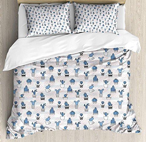 LanimioLOX Cactus 3 PCS Duvet Cover Set, Cute Zigzag Pattern with Diagonal Short Lines Squares and Dots Design, Bedding Set Bedspread for Children/Teens/Adults/Kids, Violet Blue Coral Black Full ()