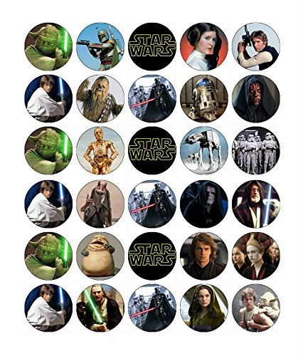 (30 x Edible Cupcake Toppers - Star Wars Themed Collection of Edible Cake Decorations | Uncut Edible Prints on Wafer Sheet  )