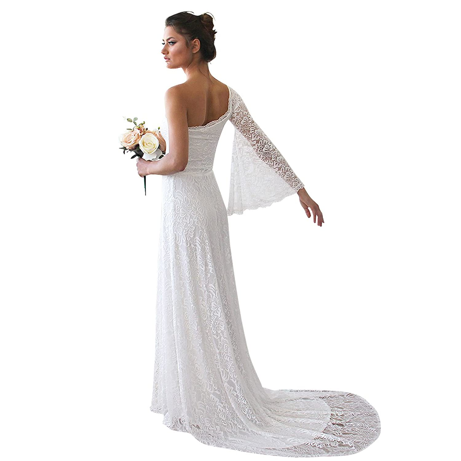 102fec246390 Blush One Shoulder Floral Lace Gown - 1166 Ivory Floor-Length Dress. Wedding  Gown With Long Train at Amazon Women's Clothing store: