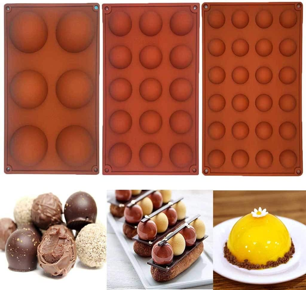 Hand Made Soap Pudding Desserts 3PCS Silicone Cake Mold Half Ball Sphere Muffin Plastic Half Round Chocolate Molds Tray Cookie Baking Mould Pan for Cakes Jelly Canapes