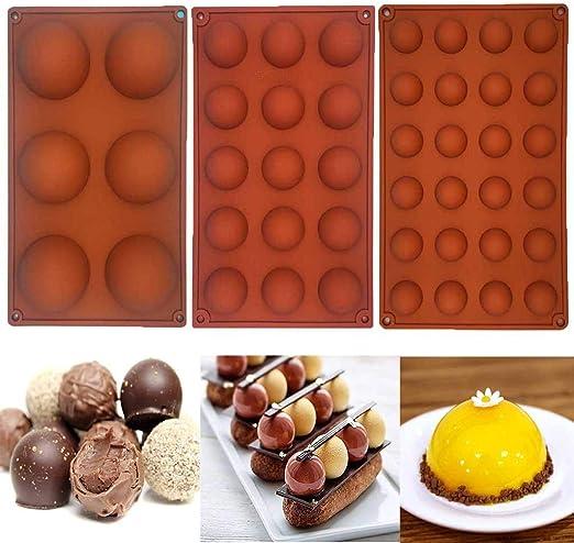 WARMWORD Molde de Silicona Semi-Esfera pequeño de 24, 15, 6 cavidades, 3 Paquetes de moldes para Hornear para Hacer Chocolate, Pasteles, gelatinas y Mousse de cúpula: Amazon.es: Hogar