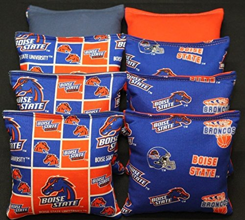 8 All Weather Cornhole Beanbags Made W Boise State University Broncos - Fabric State Boise