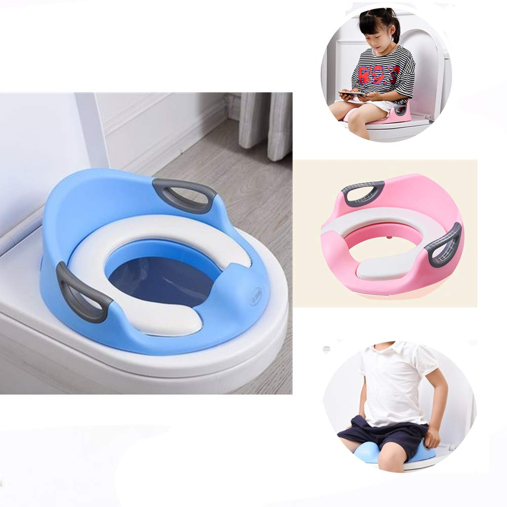 Myfreed Potty Training Seat for Boys and Girls Soft Grip Potty Seat Home Travel Anti-Slip Toddler Potty Ring (Blue)