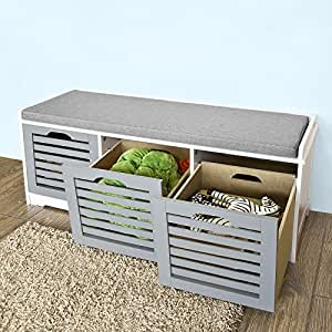 Amazon Com Haotian Fsr23 Hg Storage Bench With 3 Drawers Amp Padded Seat Cushion Hallway Bench