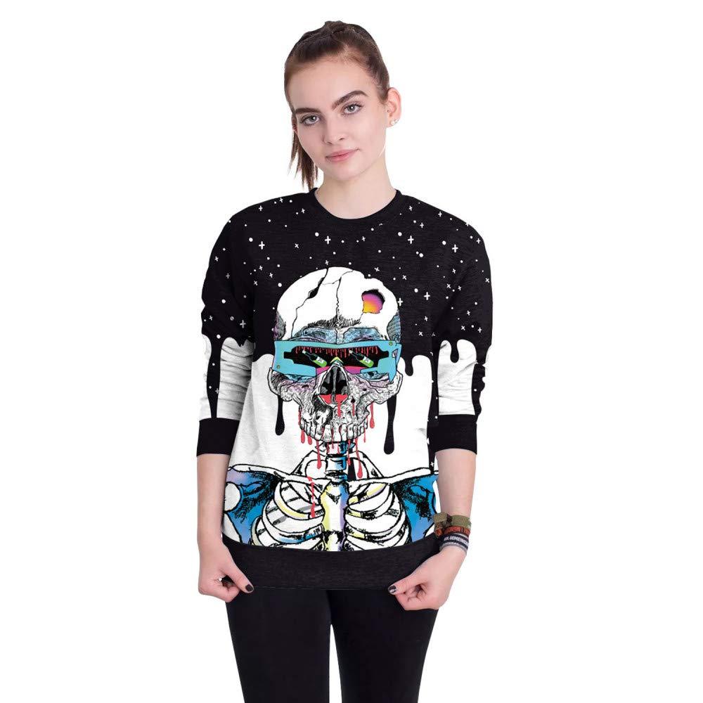 CHAOHAO 3D Kapuzenpullover Herbst Pullover Halloween Street Tour Dress up Jugend Taro Print Crew Pullover
