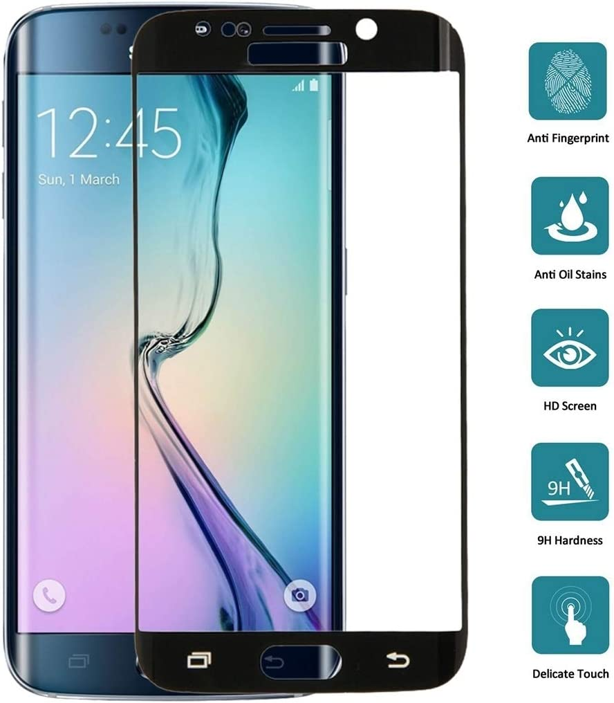 LGYD 25 PCS for Galaxy S6 Edge 0.3mm 9H Surface Hardness 3D Explosion-Proof Colorized Electroplating Tempered Glass Full Screen Film Color : Black Black Screen Protector Film