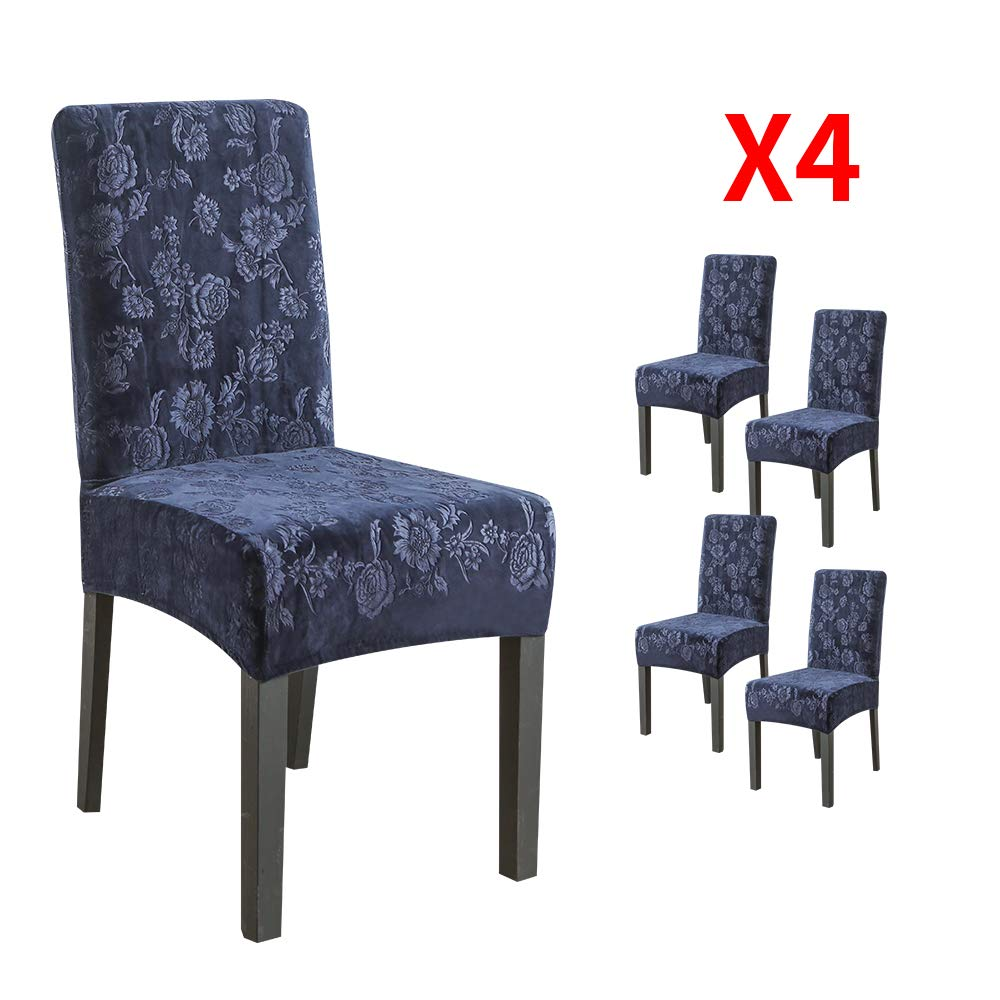 YIMEIS Comfort Stretch Dining Room Chair Covers, Silver Fox Velvet Embossing Dining Chair Protector, Removable Washable Short Chair Seat Covers for Dining Room, Kitchen, Party (Pack of 4, S_Blue)