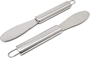 Honbay 2PCS Stainless Steel Butter Spreader Knife with Handle for Kitchen