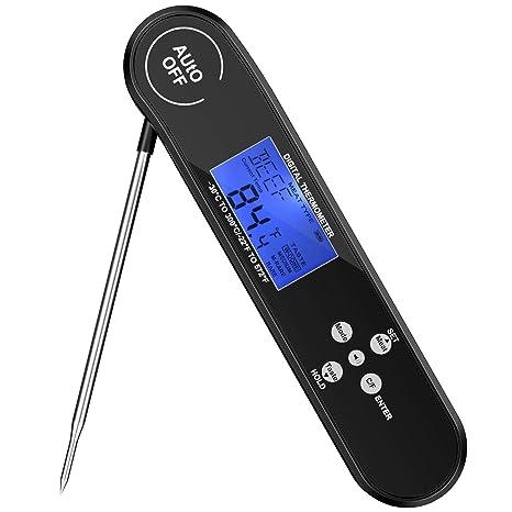 Guaiboshi Termómetro Digital de Cocina Impermeable Termómetro Sonda Plegable con Pantalla LCD Electrónico Termómetro de Carne